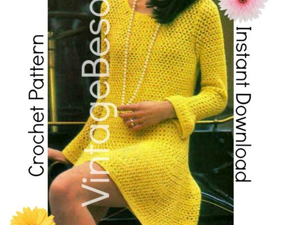 Dress Crochet PATTERN • 1960s Long Bell Sleeve Dress • Summer Wear • Party Dress • Mod Dress • VintageBeso Instant Download PDF Pattern