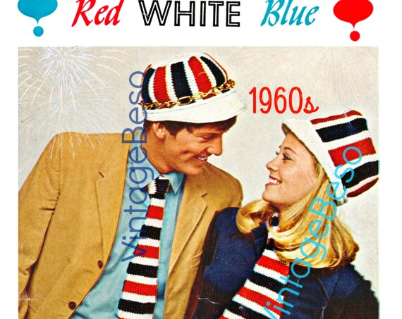 Instant Download Patriotic KNITTING Pattern Vintage Election Day 1960s Cap for him and her with Tie and Ascot Stars and Stripes PdF Pattern