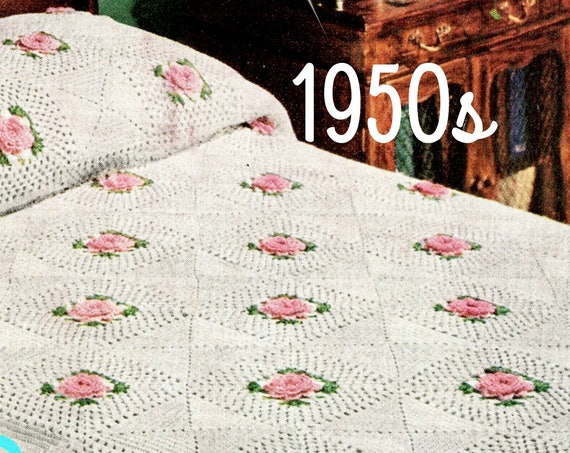 Rose Afghan Crochet Pattern • Vintage 1950s ROSE Bedspread • Popular Afghan! • Retro • Granny Square Motif Style • Watermarked PDF Only