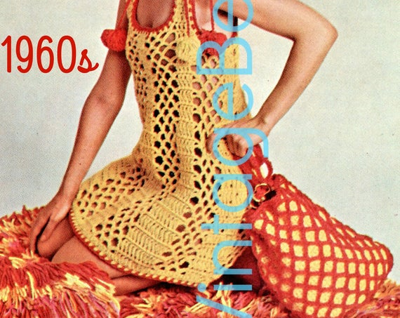 Dress + Tote Bag Crochet Pattern • Vintage 1970s Beach Dress • Ladies Sleeveless Mod Mesh One Size Summer Wear • Watermarked PDF Only
