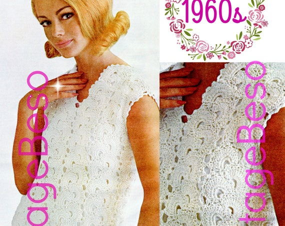 Spanish Fans DressCrochet Pattern • Vintage 60s  • Sheath Wedding Dress • Easy fit Shift Mad Men Ladies Spring Summer • Watermarked PDF Only