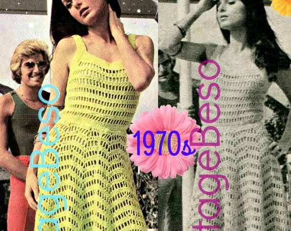 Sexy Summer Dress Vintage Crochet PATTERN Ladies 70s • Retro Dress Pattern • VintageBeso • Sexy Tank Top Style Dress • Watermarked PDF Only