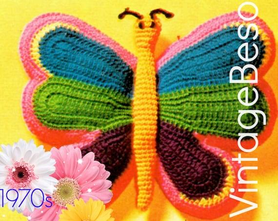 Butterfly Pillow CROCHET PATTERN • 1970s Butterfly Crochet Pattern • Retro Crochet Pattern • Boho Home • Decor Hippie • Watermarked PDF Only