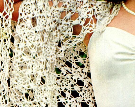 SHAWL Crochet Pattern • Ladies Flower Six Petaled Motif Feminine Delicate Lace Sexy Shawl Boho Hippie Festival • Watermarked PDF Only
