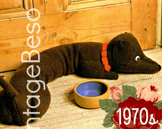 Doggie Door Draft Stopper KNITTING PATTERN • Dachshund Draught Excluder Home Decor prevents cold winds into your home • Watermarked PDF Only