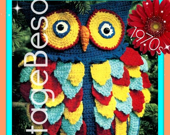 DIGITAL PATTERN • Owl Crochet Pattern • Retro 1970s Owl Pillow Hoot CROCHET Pattern • 1970s Amigurumi Bird  • Graduation • Give a Hoot • Fun