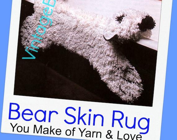 Rug Crochet Pattern 1970s Bear Shaggy Polar Bear Skin Vintage Latch Hook Bath Mat Pattern Animal Rug • Watermarked PDF Only