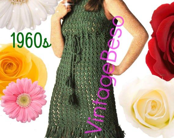 Sexy Dress Knitting PATTERN • Vintage 1960s Fringe Shift Dress KNITTING Club Party Festival Summer Retro Go Go Instant Download PDF Pattern
