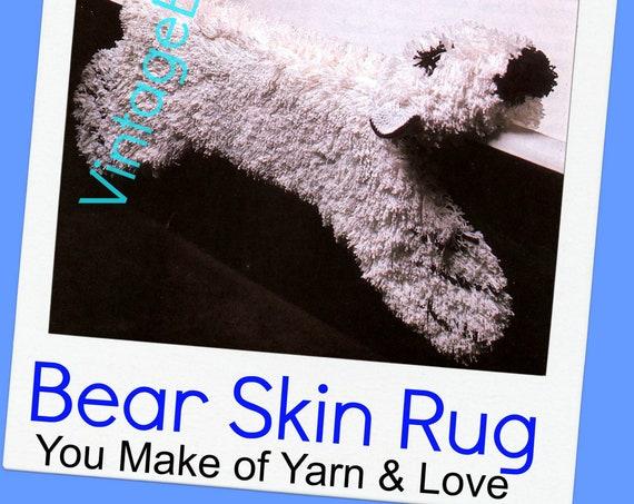 Bear Rug Crochet Pattern • Retro 1970s Latch Hook Rug Pattern • Faux Bear Rug • Fake Polar Bear Rug • Watermarked PDF Only