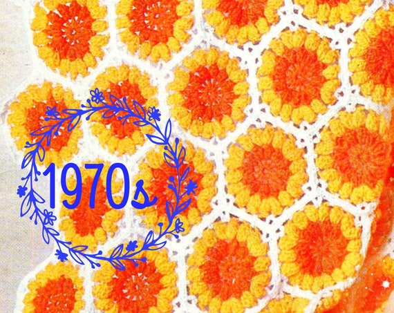 Instant Download • PDF • Easy Jumbo Flower Afghan CROCHET Pattern • Granny Square Style Motif • Vintage 70s Boho Home Decor • Blanket Cover