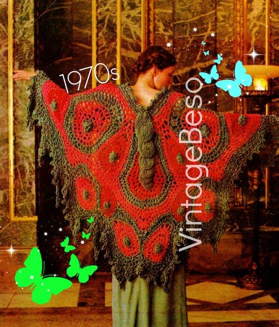 Instant Download Vintage 1970s Big Butterfly Shawl Crochet Pattern Retro Wrap Printable Pdf Pattern