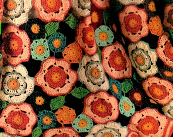 EASY Afghan Crochet PATTERN • Vintage 1970s FLOWER Crochet Pattern • Flower Garden Crochet Bohomian Home Decor Instant Download Pdf Pattern