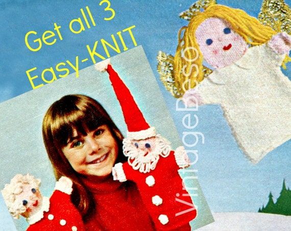 EASY Knitting Pattern • Hand Puppets 70s Mr Mrs Santa Claus lovely Floating Angel • Vintage Crochet Pattern - Instant Download - PdF Pattern