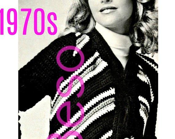 Instant Download • Ladies Flame Coat • 1970s Vintage Crochet Pattern • Womens Retro Jacket Cardigan Sweater Sweatercoat Digital PdF Pattern