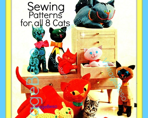 8 Stuffed Toy Cats Kitten Sew Pattern • Instant Download • PDF • Cat SEWING Pattern • 1960s Cats Sewing Pattern • PDF • VintageBeso
