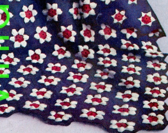 Patriotic Afghan Crochet Pattern • 1940s Vintage Flower Afghan • Flowers in Same or Different Colors • Little Dorrit • Watermarked PDF Only
