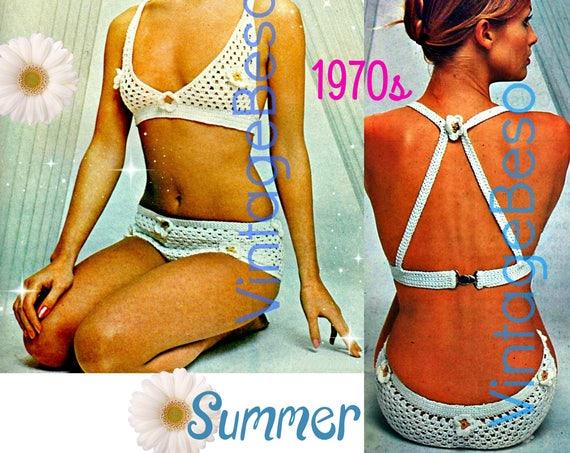 Unique Bikini Crochet Pattern • Peekaboo Flower Bikini • 1970s Crochet Flowers Bathing Suit Sunsuit Pattern Summer • Watermarked PDF Only
