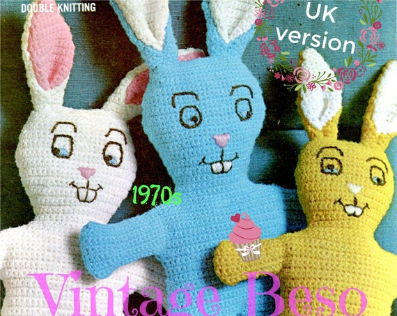 Bunny Crochet Pattern • 1970s UK VERSION • Rabbits • Stuffed Soft Toy fun for Toddlers Children • Easter Spring • Watermarked PDF Only