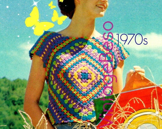 EASY Top Crochet Pattern • Retro 1970s Granny Slip On Crochet Pattern • Crop Top • Diamond • Square • Fun Summer Top • Watermarked PDF Only
