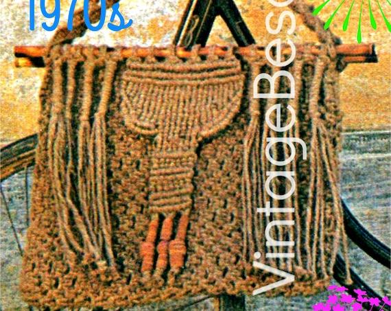 MACRAME Boho BAG 1970s Macrame PATTERN durable bag pattern Bohemian Hippie Avant Garde VintageBeso Instant Download Pdf Pattern