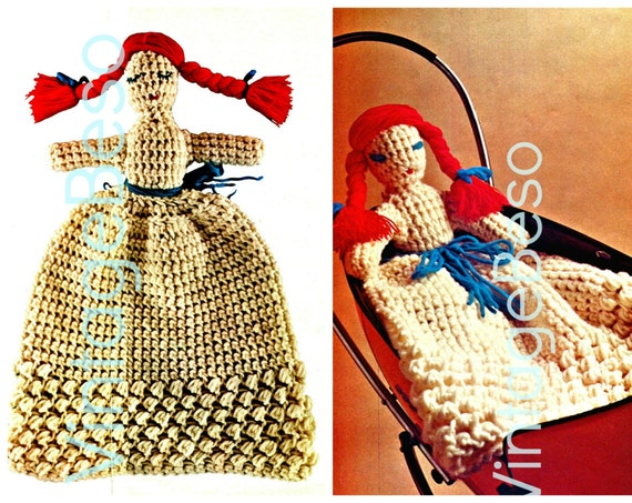 DOLL CROCHET Pattern • 1970s Day Night Doll • Vintage 30 1/4 inches high • INSTANT Download • Pdf • super quick easy fun for beginners