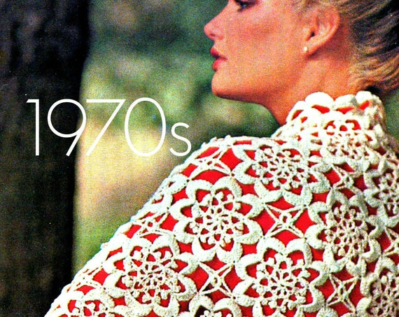 Shawl Crochet Pattern • Vintage 70s Ladies Evening Shawl Pattern • Sultry Scallop Flower Motif • Bohemian Clothing • Watermarked PDF Only