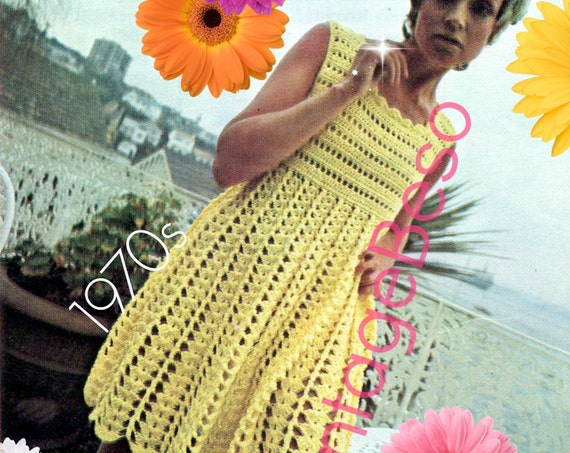 Dress Crochet Pattern • Vintage 1970s Party Dress Crochet Pattern • Sleeveless Summer Cover Up Crochet Pattern • Watermarked PDF Only