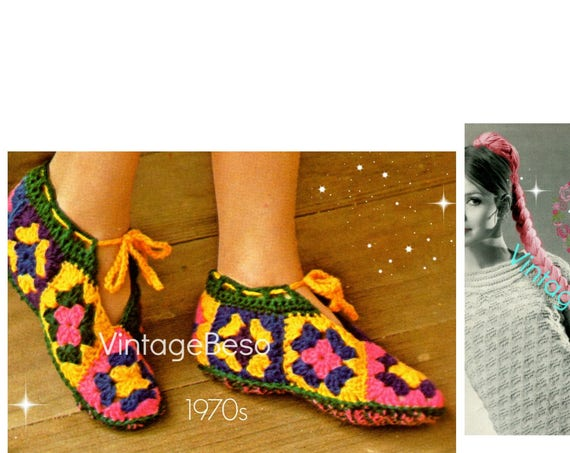 EASY Slippers Vintage Crochet PATTERN + Fun Hair Ponytail Braid • Vintage 1970s Granny Square Slippers • Watermarked PDF Only