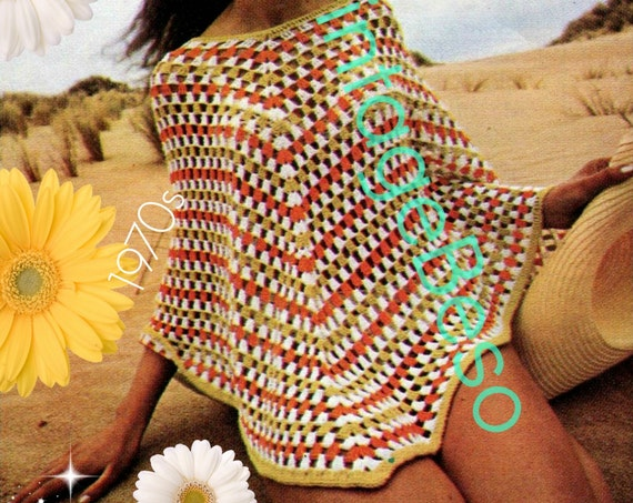 Poncho Crochet Pattern • Popover • 1970s Vintage Crochet Pattern • Summer Beach Cover Up • Crochet Pattern • Watermarked PDF Only