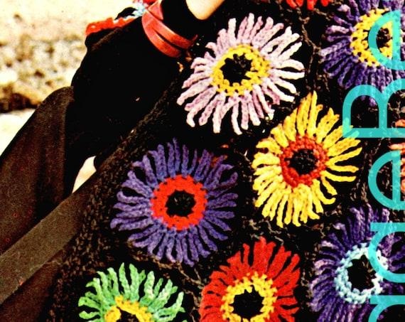 Shawl Crochet Pattern • Vintage 1970s Dahlia Crochet Pattern • Bouquet • Triangular Rainbow Shawl Crochet Pattern • Instant Download • PDF