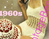 2 PATTERNS PdF Pattern Bathing Suit Crochet Pattern Hat Cover PAttERN 1960s Sexy Swimsuit Maillot Vintage One Piece Swimwear