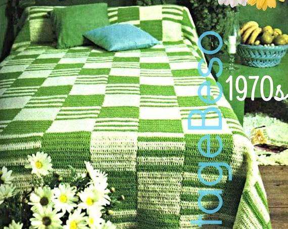 EASY Bedspread Pattern • INSTANT DOWNlOAD • PdF Pattern • Crochet PATTERN Vintage 1970s Throw Blanket Cover Boho Bohemian Decor VintageBeso