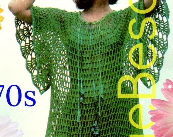 DIGITAL PATTERN •  Sea Dance Dress Crochet Pattern • Ladies Maxi Dress • Caftan Dress • Web • Bikini Cover Up • 1970s Vintage • PdF Pattern