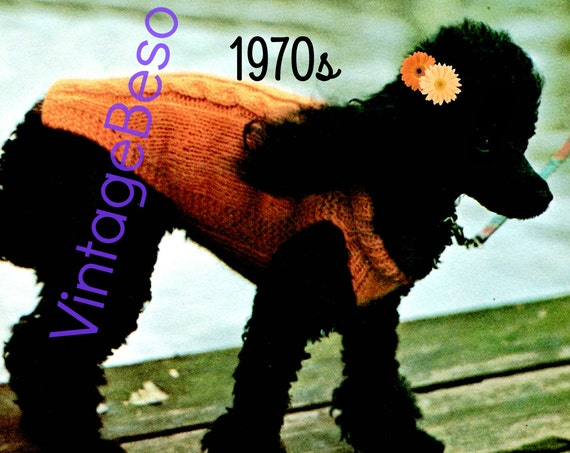 Cable Dog Sweater Knitting Pattern • Vintage 70s Knit Sweater KNITTING • Vintage Beso • Watermarked PDF Only