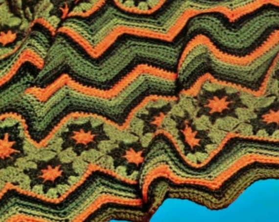 "Ripple Afghan • Vintage CROCHET Pattern • 1970s Zig Zag abt 48 x 72"" Chevron Bohemian Crochet PDF Pattern Star • Watermarked PDF Only"