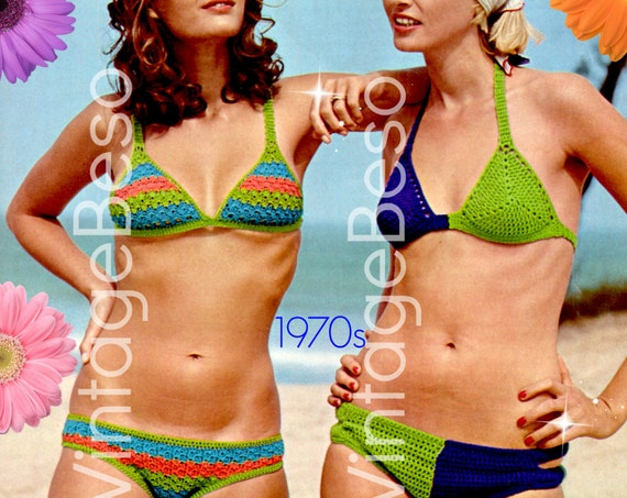 INSTANT DOWNlOAD • PdF Pattern • Two 2 Bikini EASY Crochet Pattern 70s Swimsuit Crochet Pattern Retro Ladies Bikini Bra Top Panty Brief