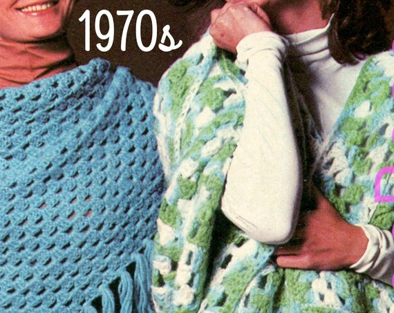 EASY Vintage Crochet Pattern • Two Shawls 1970s Instant Download Ladies Think Granny Square + Even Easier Than a Granny Square • Watermarked