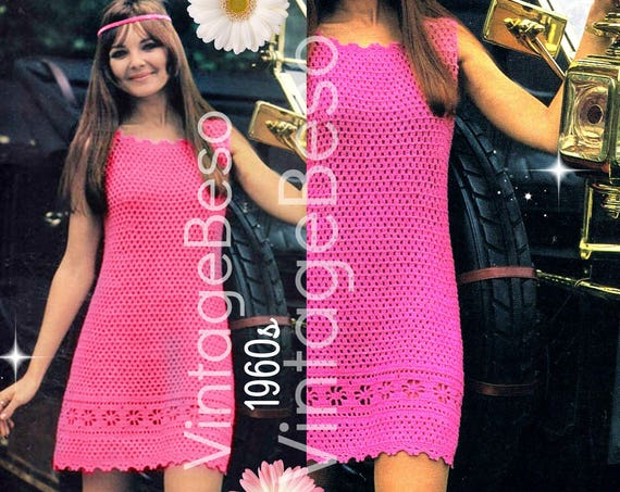 Dress Crochet Pattern • Retro 1960s Cotton Cool Day Dress • Club Party Dress • Festival Summer Resort Summer Fun • Watermarked PDF Only