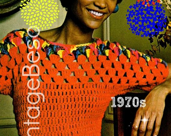 EASY Top Crochet Pattern • Fun Shell Stitch • Beginner Blouse Crochet Pattern • Retro 1970s Sweater Top Pattern • Watermarked PDF Only