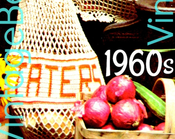 Vintage Shopping Tote Crochet Pattern • Mesh • Onions • Taters • Carrots Amigurumi • Purse Reusable Produce Bags 70s • Watermarked PDF Only