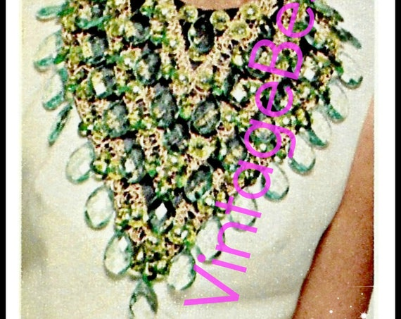 2 Guides 1st an Emerald Bib + 2nd a Pearl Collar is 1970s Statement Jewelry you Stand Out even Today • Watermarked PDF Only