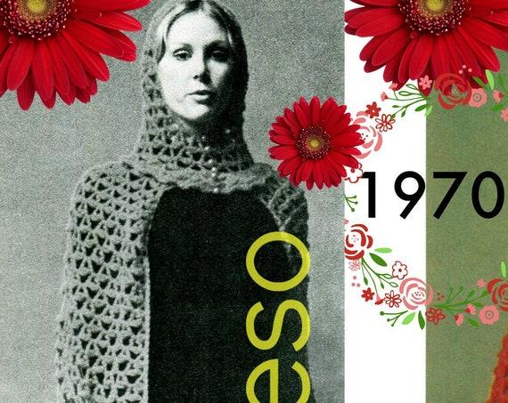 Hooded Cape CROCHET Pattern • 1970s Vintage Crochet Pattern • Long Cape • PDF • Shells Stitches • Beach Coverup Sexy Dress Vixen Wear