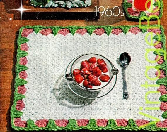 EASY Placemat + Coaster Crochet Pattern • Retro Strawberry • 1960s Brunch Set • Retro Boho Home Decor • Valentine's Day • PDF Only