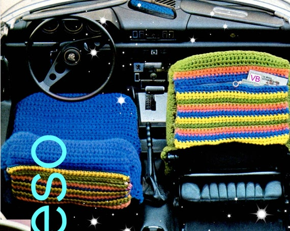 INSTANT DOWNLOAD PDF • Vintage 1970s Car Seat Cover Crochet Pattern • 2 PAttERNs • PdF Pattern • Afghan Crochet Throw • Auto Blanket • Rug