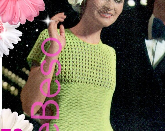 Dress Crochet Pattern • Digital Pattern • Vintage 1970s • VintageBeso • PDF • Ladies Crochet Dress Pattern • Watermarked PDF Only