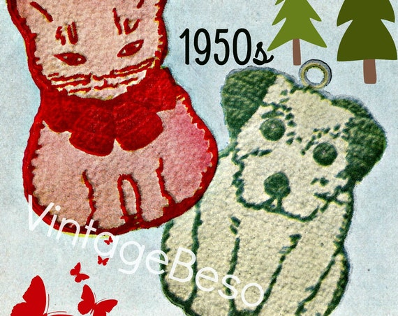 2 Potholder Crochet Patterns: Cat Crochet PATTERN • Dog CROCHET Pattern • 1950s • Vintage Potholder Crochet Pattern • Watermarked PDF Only