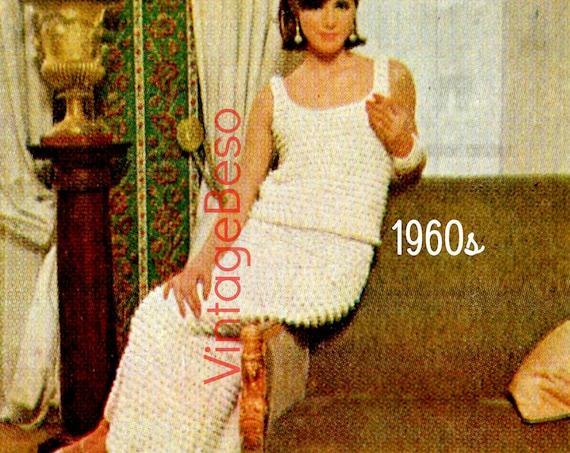 Dress CROCHET PATTERN 1960s Retro Ladies Evening Dress Crochet Pattern Tank Top Skirt Sexy Dress • Watermarked PDF Only