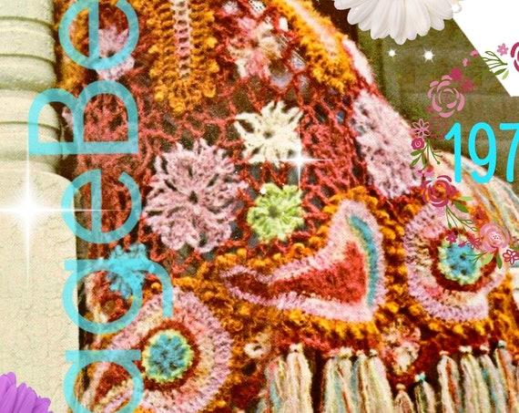 Free Form Paisley Shawl CROCHET PATTERN • 1970s Motifs Boho Hippie Feminine Shawl • Gorgeous Bohemian Vintage Pattern • Watermarked PDF Only
