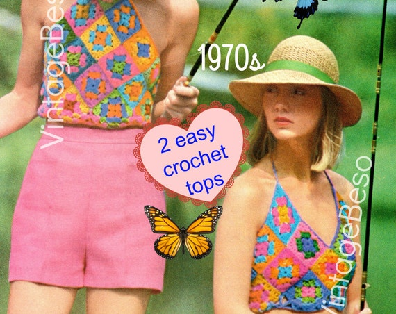 Top Crochet Pattern • Vintage 1970s • Halter Crochet Pattern • Granny Square • Vintage • Boho • Chic • Hippie • Top • Watermarked PDF Only