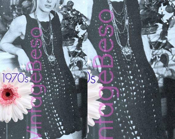 Dress CROCHET PATTERN 70s Slip Dress Crochet Pattern Retro Party Festival Club Sexy Ladies Summer Vintage Beso Instant Download PDF Pattern